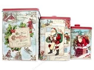 Punch Studio Nesting Tin Canisters Square Homestead Santa Set of 3