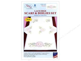 stamps: Jack Dempsey Scarf & Doily Set Lace Edge Daisies