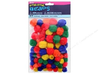craft & hobbies: Darice Pom Pom Beads Assorted Size Primary Colors 90 pc.