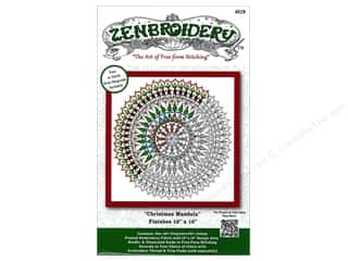 "sewing & quilting: Design Works Zenbroidery Fabric 10""x 10"" Christmas Mandala"
