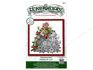 "Design Works Zenbroidery Fabric 10""x 10"" Christmas Tree"