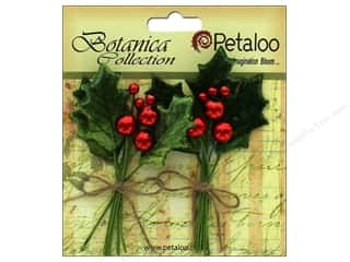 Petaloo Botanica Collection Holiday Pick Vintage Velvet Holly Leaf