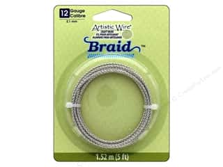 craft & hobbies: Artistic Wire 12 ga. Round Braided Wire 5 ft. Tarnish Resistant Silver