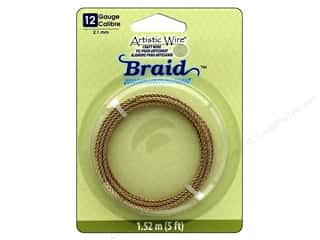 craft & hobbies: Artistic Wire 12 ga. Round Braided Wire 5 ft. Tarnish Resistant Brass