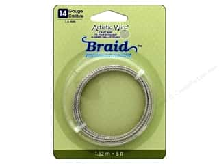16 gauge wire: Artistic Wire 14 ga. Round Braided Wire 5 ft. Tarnish Resistant Silver
