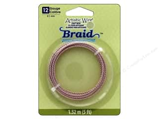 craft & hobbies: Artistic Wire 12 ga. Round Braided Wire 5 ft. Rose Gold Color