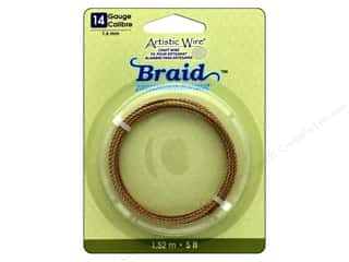 craft & hobbies: Artistic Wire 14 ga. Round Braided Wire 5 ft. Tarnish Resistant Brass