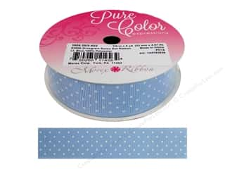 "Morex Ribbon Grosgrain Swiss Dot 7/8""x 5yd Light Blue"