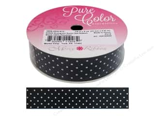 "Morex Ribbon Grosgrain Swiss Dot 7/8""x 5yd Black"