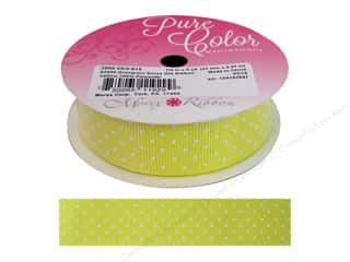 "Morex Ribbon Grosgrain Swiss Dot 7/8""x 5yd Yellow"