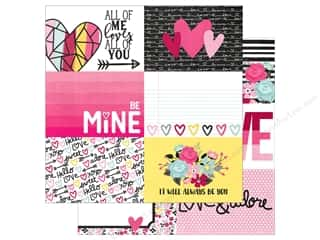 "Clearance: Simple Stories Collection Love & Adore Paper 12""x 12"" Journaling Card Elements Horizontal 4""x 6"" (25 pieces)"