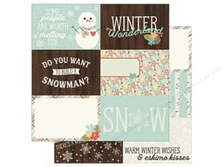 "Simple Stories Collection Winter Wonderland Paper 12""x 12"" Journaling Card Elements Horizontal 4""x 6"" (25 pieces)"