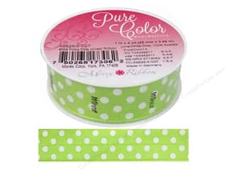 gifts & giftwrap: Morex Ribbon Wire Polka Dots 1 in. x 5 yd Lime