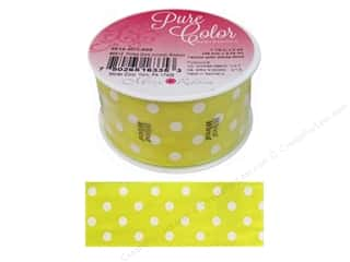 Morex Ribbon Wire Polka Dots 1.5 in. x 3 yd Yellow/White