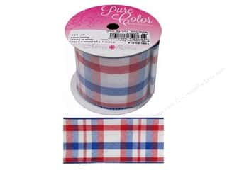 gifts & giftwrap: Morex Ribbon Wire Color Chic Plaid 2.5 in. x 3 yd Red/White/Blue