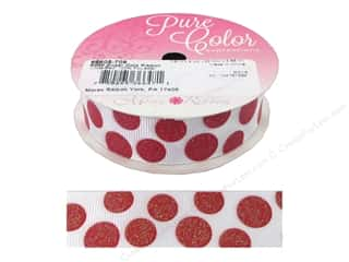 "Morex Ribbon Sugar Dots 7/8""x 4yd White/Red"