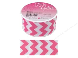 "Morex Ribbon Sugar Chevron 1.5""x 3yd Shocking Pink"
