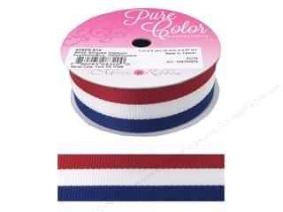 "Morex Ribbon Grosgrain Stripes 1""x 5yd Red/White/Blue"