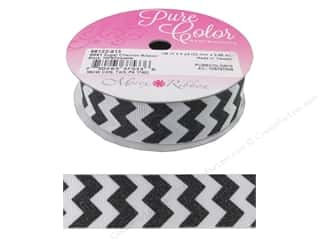"Morex Ribbon Sugar Chevron 7/8""x 4yd Black"