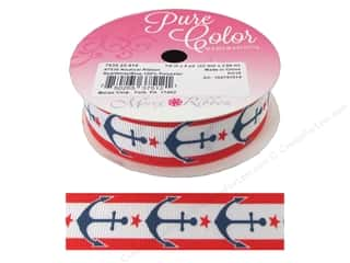 "Clearance: Morex Ribbon Nautical 7/8""x 4yd Red/White/Blue"
