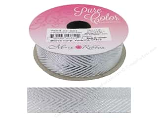 "Morex Ribbon Herringbone Metallic 7/8""x 5yd White/Silver"