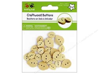 Multicraft Krafty Kids Craftwood Button Natural Ladybugs 25pc
