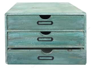 Sierra Pacific Crafts Wood Chest with 3 Drawers 9.8 in.  x 7.08 in. x 7.5 in.  Turquoise