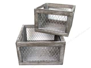 craft & hobbies: Sierra Pacific Crafts Wood Crate with Chicken Wire Sides Set/2 Brown