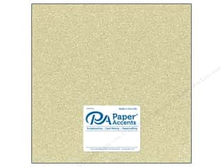 scrapbooking & paper crafts: Paper Accents Glitter Cardstock 12 x 12 in. #G16 Light Gold (15 pieces)