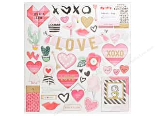 Crate Paper Collection Heart Day Chipboard Glitter Gold