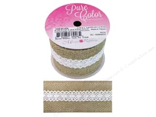 "Clearance: Morex Ribbon Burlap & Lace 2.5""x 3yd Natural"