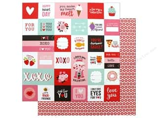 scrapbooking & paper crafts: Pebbles Collection My Funny Valentine Paper 12 in. x 12 in. Valentine Wishes (25 pieces)