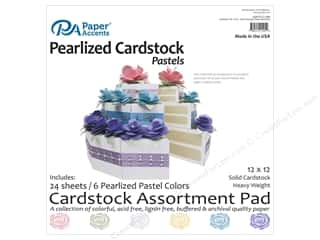 scrapbooking & paper crafts: Paper Accents 12 x 12 in. Cardstock Pad 24 pc. Pearlized Pastels