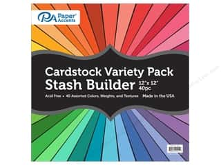 scrapbooking & paper crafts: Paper Accents Cardstock Variety Pack 12 x 12 in. Stash Builder Assorted 40 pc.