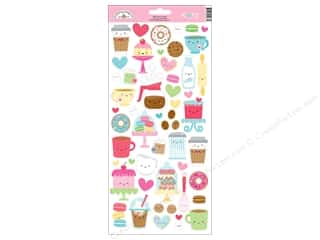 Clearance: Doodlebug Collection Cream & Sugar Sticker Icons (12 pieces)