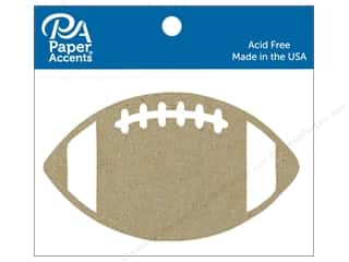 scrapbooking & paper crafts: Paper Accents Chipboard Shape Football 6 pc. Natural