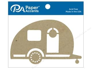 scrapbooking & paper crafts: Paper Accents Chipboard Shape Camper 4 pc. Natural