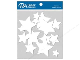 Chipboard: Paper Accents Chip Shape Stars White Assorted Sizes 15 pc