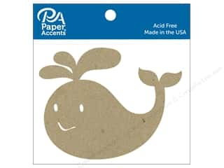 Chipboard: Paper Accents Chip Shape Whale Natural 6 pc