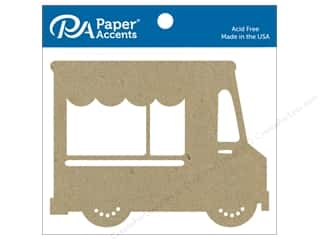 scrapbooking & paper crafts: Paper Accents Chipboard Shape Food Truck 4 pc. Natural