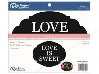 Clearance: Paper Accents Chipboard Shape 2 pc. Love is Sweet Black