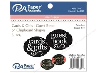 Clearance: Paper Accents Chipboard Shape Guest Book/Card & Gift 1 Set Black