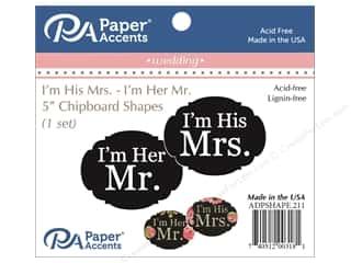Chipboard: Paper Accents Chipboard Shape I'm His Mrs./I'm Her Mr. 1 Set Black