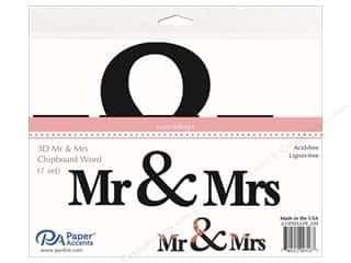 Paper Accents Chipboard Word  Mr & Mrs 1 Set Black