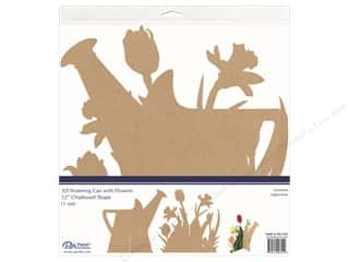 Paper Accents Chipboard Shape 1 pc. 12 in. 3D Watering Can With Flowers Natural