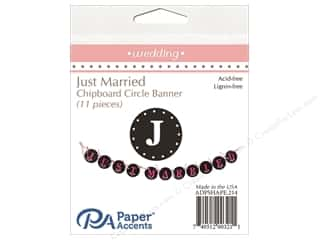 circle punch: Paper Accents Chipboard Banner Just Married 11 pc. Black