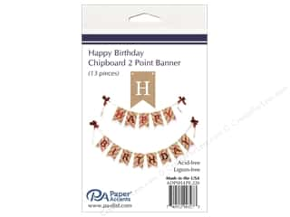 scrapbooking & paper crafts: Paper Accents Chipboard Banner Happy Birthday 13 pc. Natural