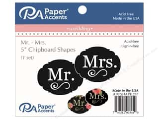 Clearance: Paper Accents Chipboard Shape Mr & Mrs 1 Set Black