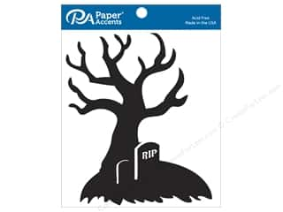 scrapbooking & paper crafts: Paper Accents Chipboard Shape 4 pc. 7 in. RIP Tree Black
