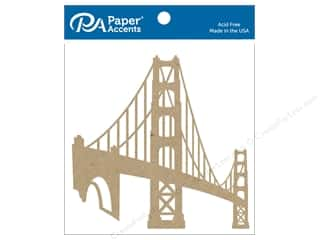 Chipboard: Paper Accents Chipboard Shape 4 pc. Golden Gate Bridge Natural
